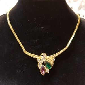 Multicolored gold plated necklace.